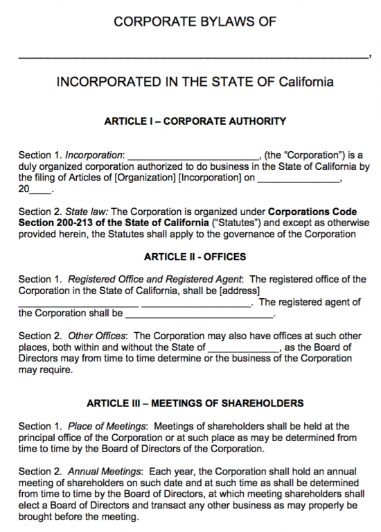 Free california corporate bylaws template pdf word for Llc bylaws template