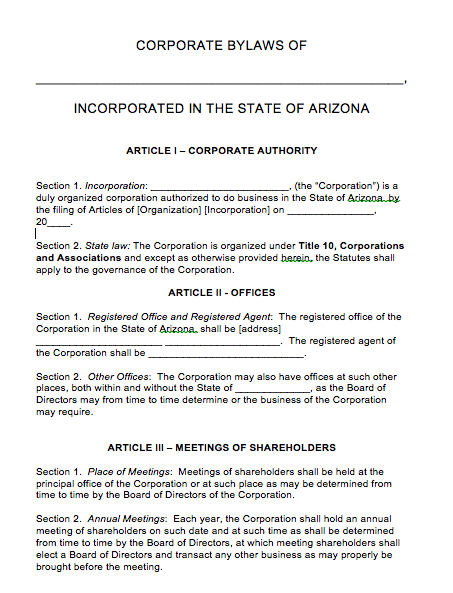 Free Arizona Corporate Bylaws Template PDF Word - S corp bylaws template free