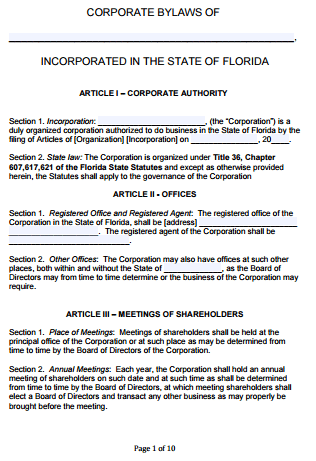 Attractive FL Corporate Bylaws To Corporate Bylaws Template Free