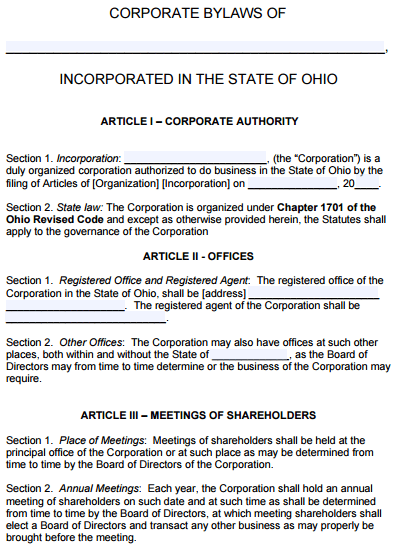 Ohio-Corporate-Bylaws
