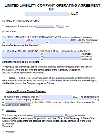Free Ohio Llc Operating Agreement Template Pdf Word