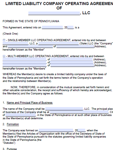 Free Pennsylvania Llc Operating Agreement Template Pdf Word