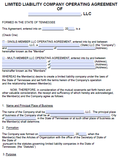 Free Tennessee Llc Operating Agreement Template Pdf Word