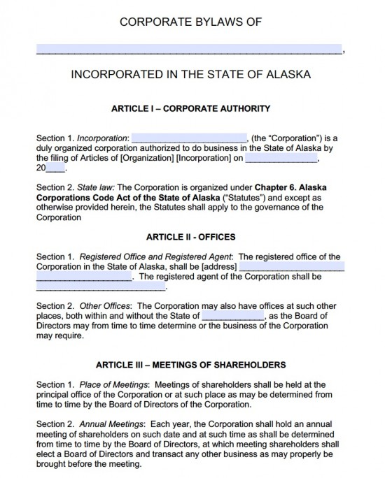 Free Alaska Corporate Bylaws Template | Pdf | Word |