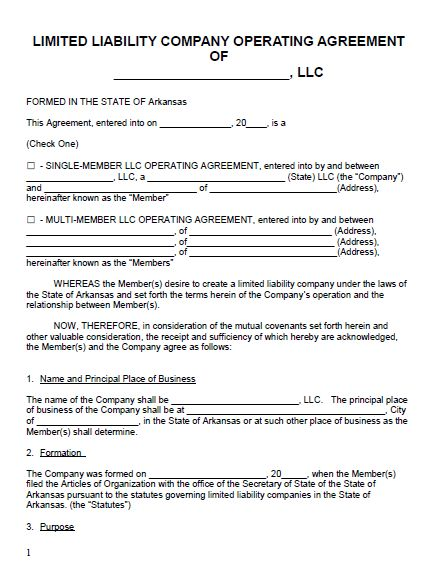 arkansas-llc-operating-agreement-form-pic