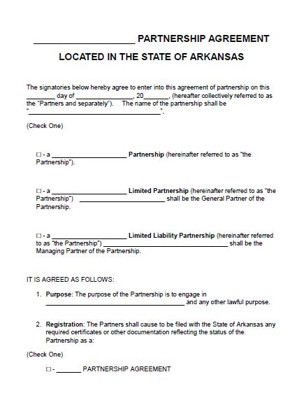 Free Arkansas Partnership Agreement Template | Pdf | Word |