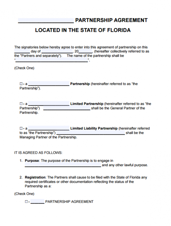 florida partnership agreement