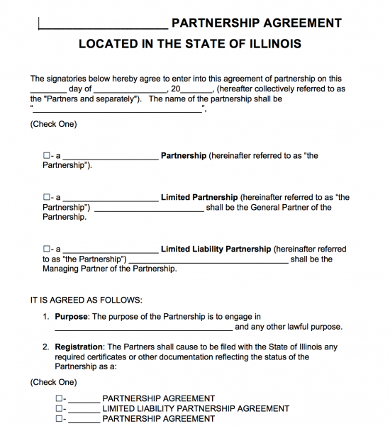 Free Illinois Partnership Agreement Template Pdf Word