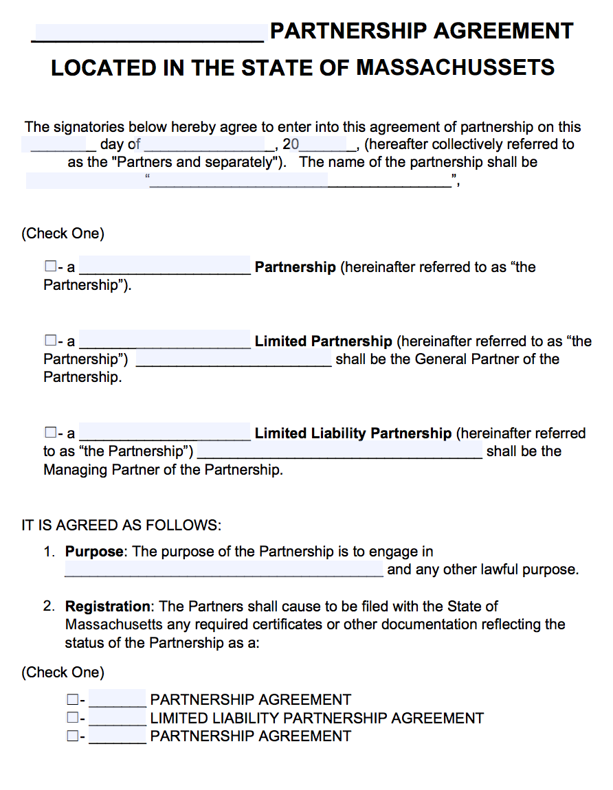 Agreement Template Free | Free Massachusetts Partnership Agreement Template Pdf Word